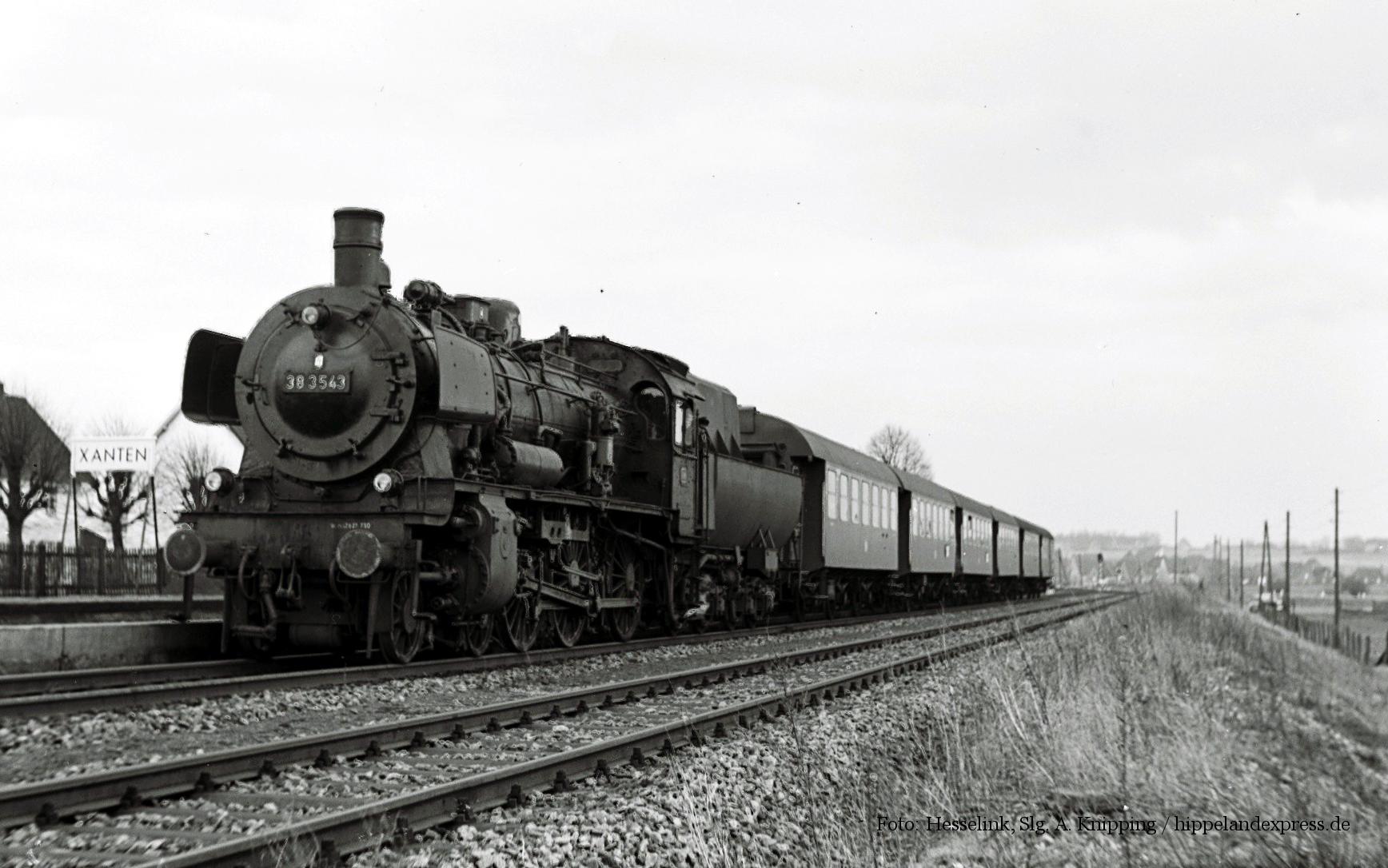 38 3543 mit Personenzug in Xanten