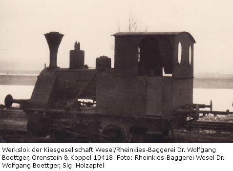 Werkslok der Kiesgesellschaft/Rheinkies-Baggerei Wesel.
