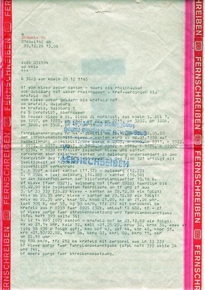 Fernschreiben der BD Köln zur Betriebseinstellung 1989